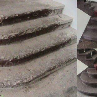 Betona kāpņu remonts, klājuma veidošana