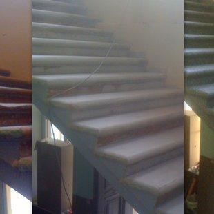 Betona pakāpienu restaurācija, krāsaino pārslu epoksīda klājums